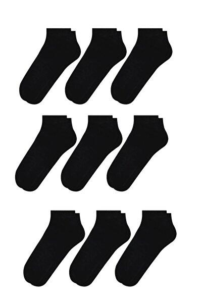 Erkek Dikişsiz Siyah Patik Çorap 9'lu