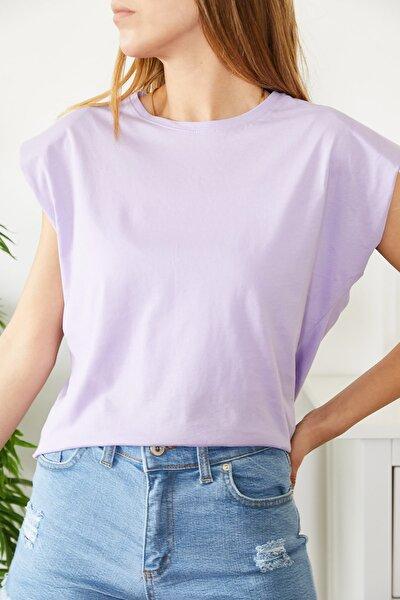 Vatkalı Basic  Kadın T-shirt Lila    0yxk1-43772-26