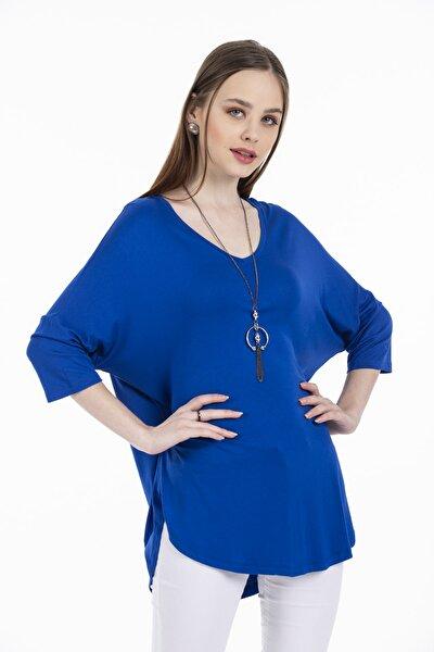 Kadın Sax Mavi V Yaka Salaş Kesim Tunik