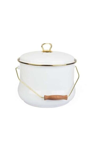 Qualita Serisi 24 Cm Gold Yaldız Emaye Bakraç Beyaz 16946