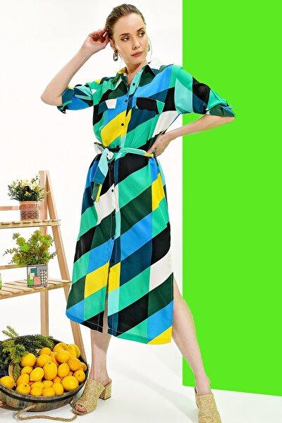 Kadın Yeşil Yanı Yırtmaçlı Desenli Gömlek Elbise Alc-017-039-Dsn