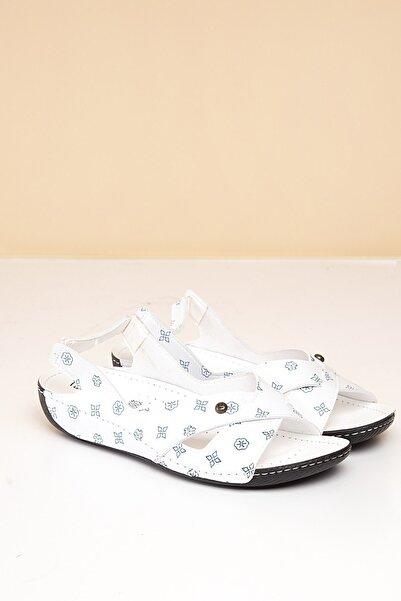PC-1361 Beyaz-Lacivert Kadın Sandalet