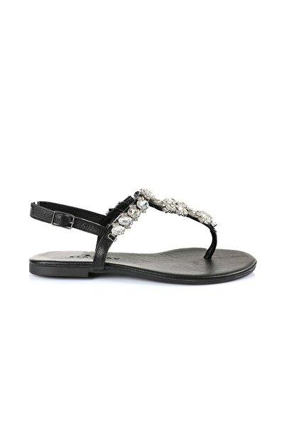 Lavin Hakiki Deri Siyah Taşlı Sandalet