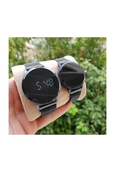 Siyah Hasır Mıknatıslı Kordon Siyah Kasa Dokunmatik Sevgili Saatleri