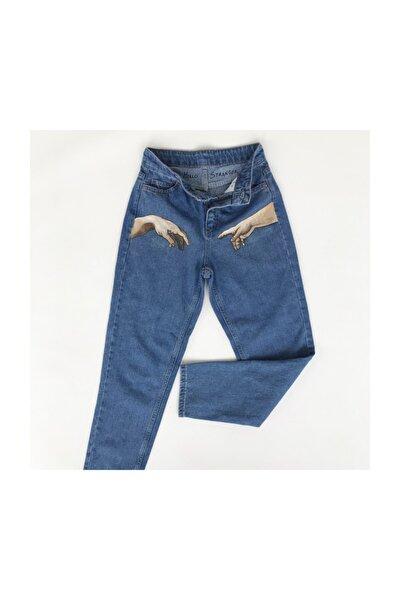 El Boyaması Mom Jeans Kot Pantolon - Adem'in Yaradılışı