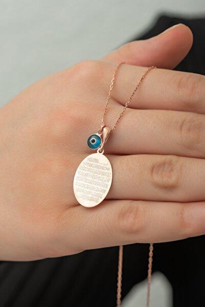 925 Ayar Gümüş Plaka Oval Ayetel Kürsi Kolye Kadın Gümüş Kolye