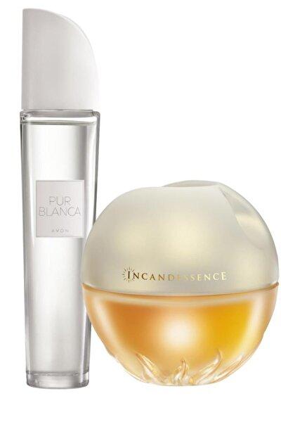 Kadın  Pur Blanca Parfüm Edt 50 ml + Avon Incandessence Parfüm Edp 50 ml Parfüm Seti