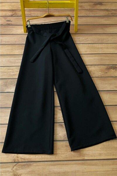 Belden Lastikli Ve Kuşaklı Bol Pantolon