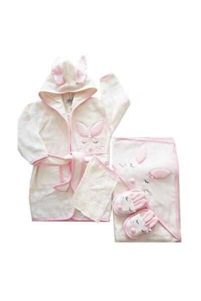 Kız Bebek Havlu Bornoz Seti 100834 - Bebek Hediyesi