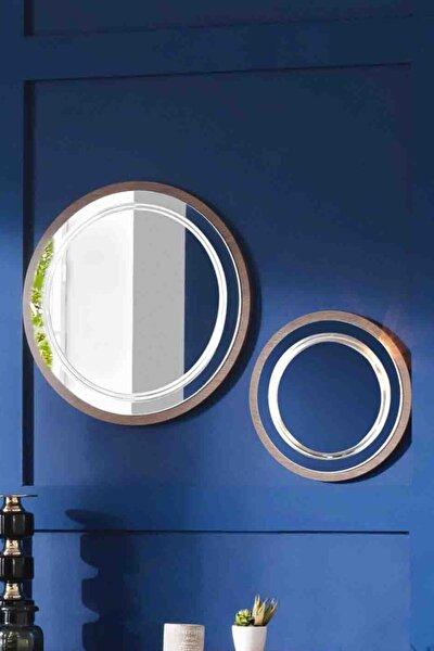 Dekoratif Ayna & Duvar Aynası & Konsol Aynası 2'li Set CEVİZ