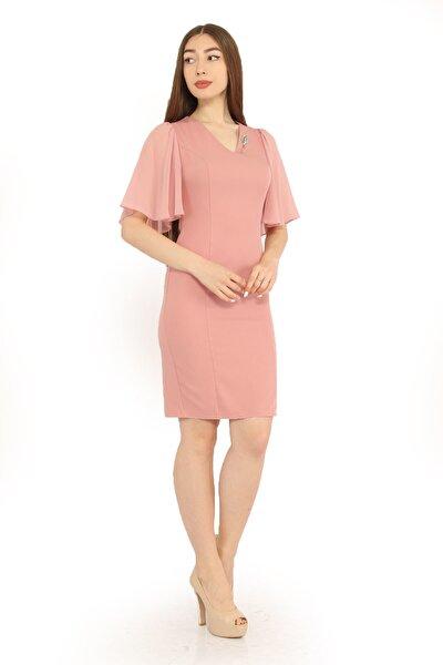 Kadın Pembe Kolu Şifon Volanlı Elbise