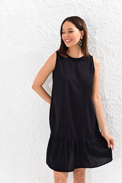 Kadın Siyah Volanlı Keten Elbise SF11213-10