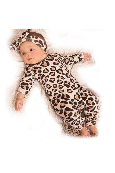 Leopar Desenli Bandanalı Kız Bebek Tulum