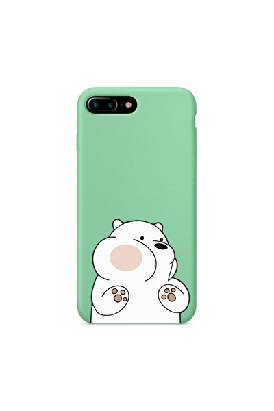 Iphone 7 Plus Premium Lansman Pastel Mint Yeşil Telefon Kılıfı Kırmızı Yanaklı Ayıcık Desenli