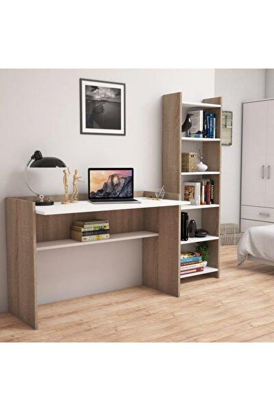T7020 Mahpeyker Kitaplık Ve Çalışma Masası Ceviz/beyaz