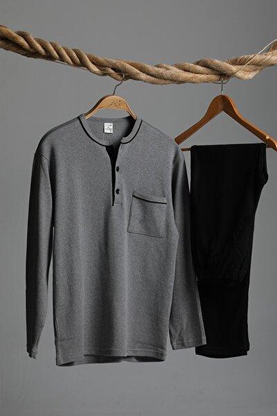 Interlok Uzun Kollu Pijama Takımı Gri-siyah Renk Cepli