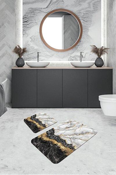Dijital Banyo Halısı Klozet Takımı 2'li Paspas Seti Bs305 50x80cm + 50x50cm