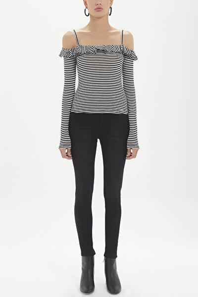 Valonlu Örme Bluz Siyah 19708