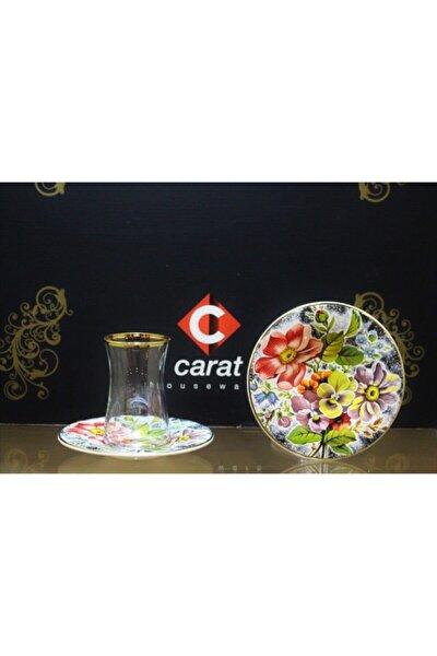 Carat 6 Lı Çay Bardağı Seti Mavi Çiçek
