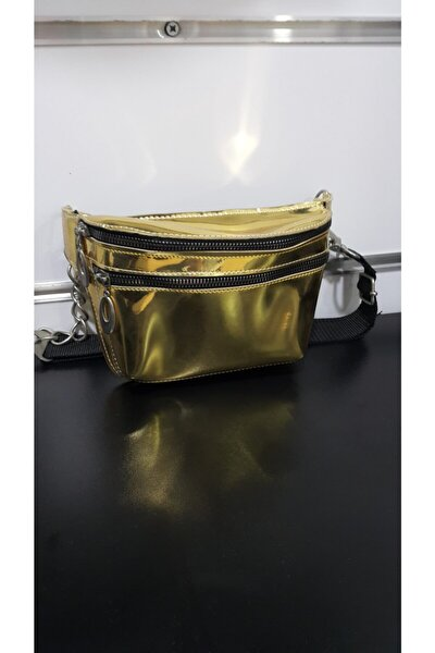 Gold Parlak Bel Çantası