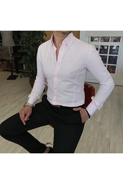 Erkek Italyan Stil Slim Fit Dik Yaka Saten  Gömlek  T4748