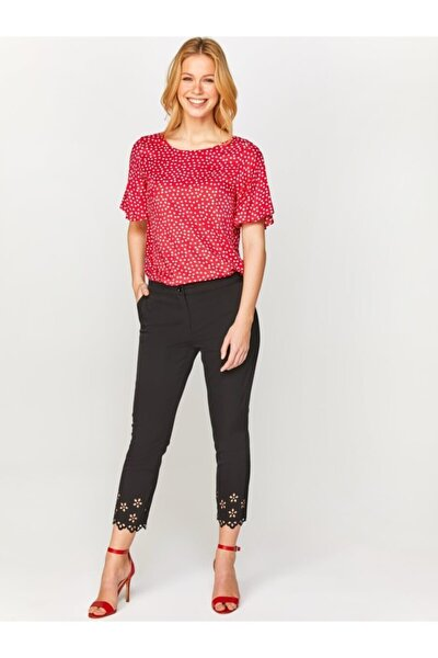 Kadın Siyah Slim Fit Paçası Delik İşli Kumaş Pantolon 60540 U60540