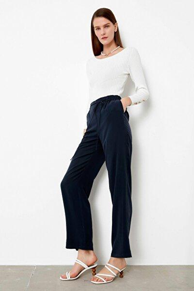 Kadın Mavi Lastik Bel Pantolon IS1200003178015