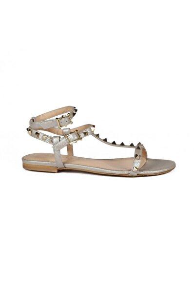 Ella Sedefli Bronz Deri Kadın Düz Sandalet