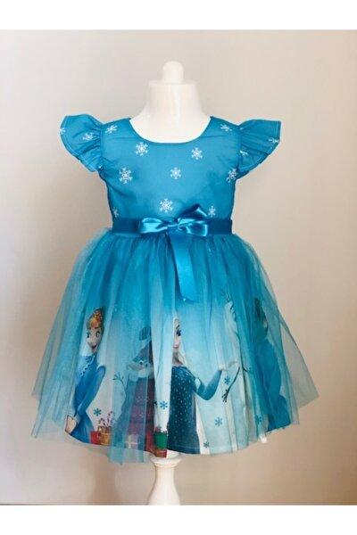 Mavi Elsa Karlar Kraliçesi Kız Çocuk Elbisesi