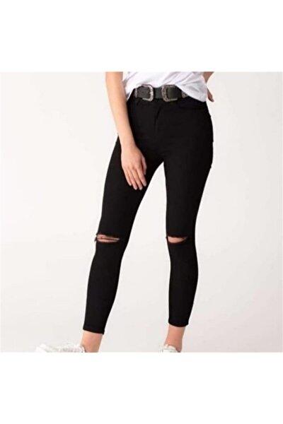 Kadın Siyah Yırtık Pantolon