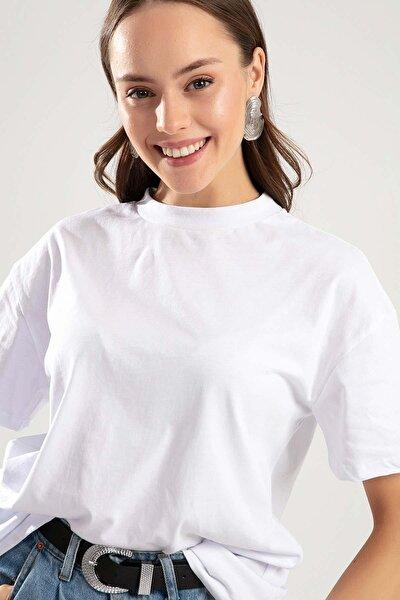 Kadın Beyaz Dik Yaka Basic Tişört PTTY20S-701