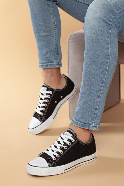 Siyah-Beyaz Günlük Ortopedik Erkek Keten Spor Ayakkabı  DXTRMCONT005