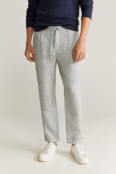 Erkek Gri %100 Keten Pantolon  77001004