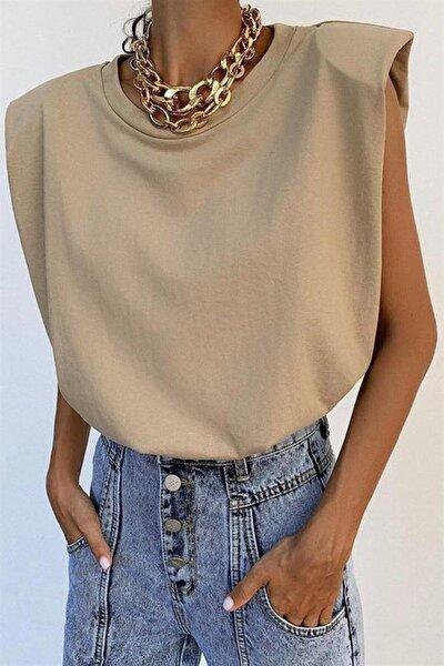 Mad Girls Vatkalı Camel Kadın Tişört MG228