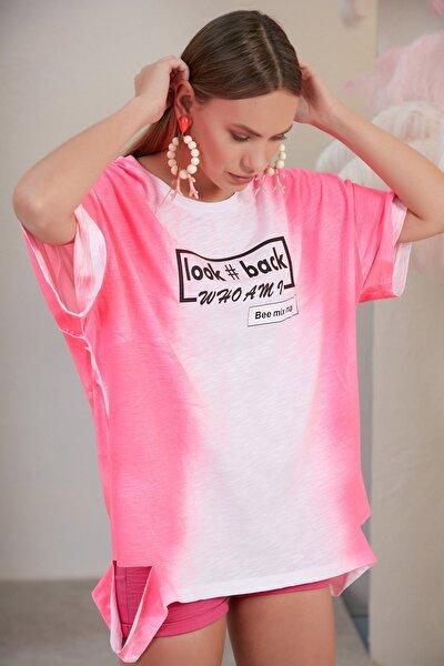 Kadın Pembe Beyaz Whoamı T-shirt