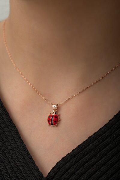 925 Ayar Minik Uğur Böceği Kolye Kadın Gümüş Kolye