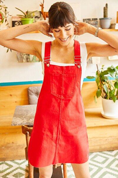 Kadın Kırmızı Önü Cepli Denim Salopet Elbise SLP-19000033