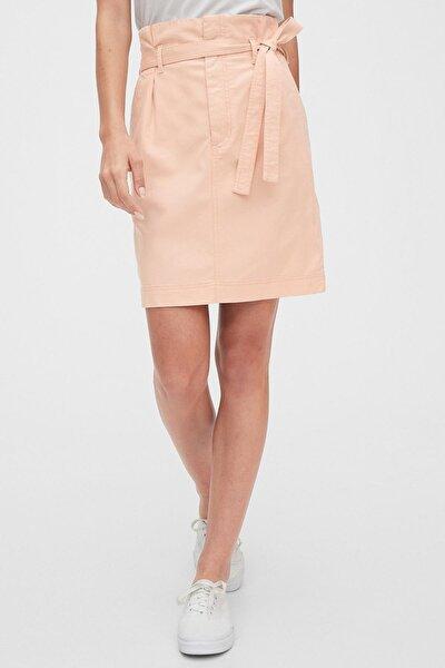Kadın TENCEL™ Paperbag Mini Etek 542519