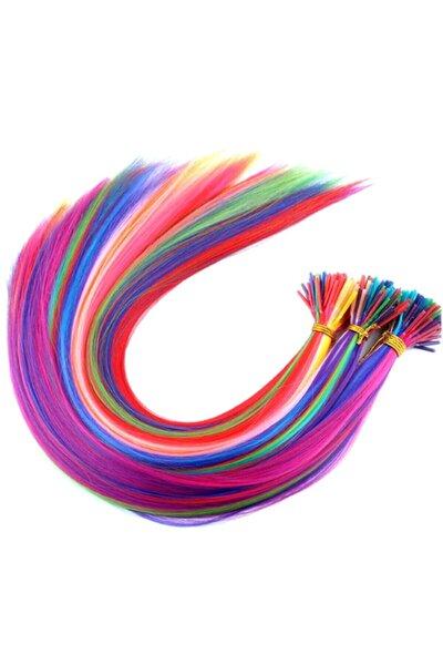 20 Adet Karışık Renkli Kaynaklık Saç 50 cm + Takım Aparatı Ve Boncuğu