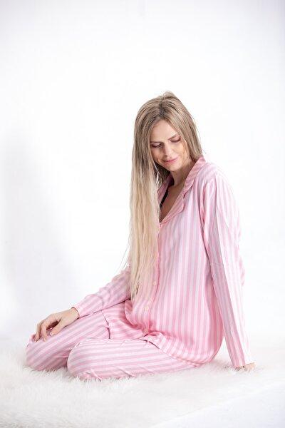 Uzun Kollu Gömlek Yaka Düğmeli Pijama Takımı Pembe Çizgili