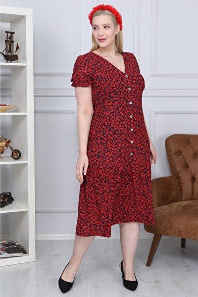 Bordo Desenli Önü Düğme Detaylı V Yaka Elbise