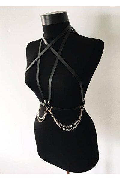 Kadın Siyah Harness Deri Model - Aptf52