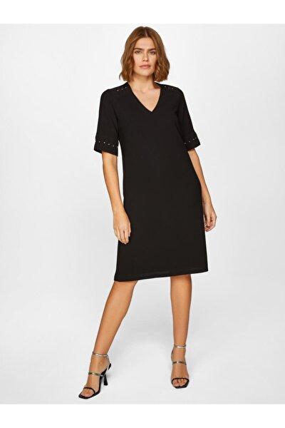 Kadın Siyah Şifon ve Taş Detaylı Abiye Elbise 60249 u60249