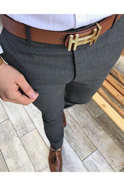 Italyan Kesim Slim Mevsimlik Erkek Gri Kumaş Pantolon T3662