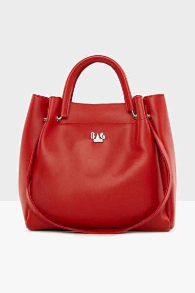 Kırmızı Kadın Demir Tutmalı Büyük Çanta