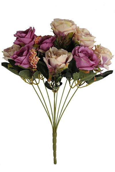 Yapay Çiçek Açmış 9lu Gül Buketi Kırık Mor-krem