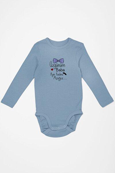 Baby Üzgünüm Baba Aynı Kadına Aşığız Erkek Bebek Uzun Kollu Zıbın Mavi