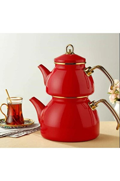 Emaye Çaydanlık Takımı-kırmızı-610248
