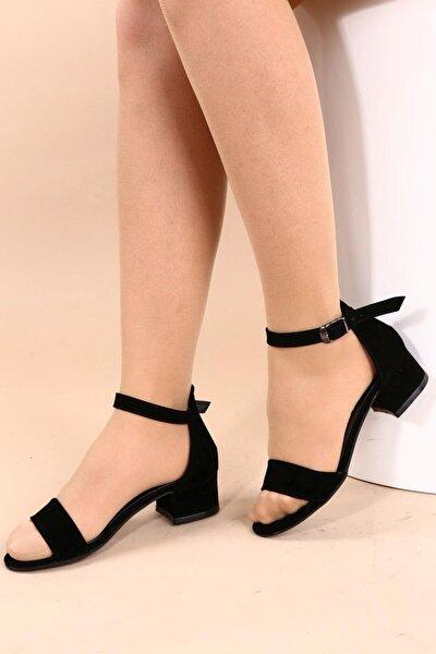 Siyah Süet Kadın Topuklu Ayakkabı 352-05-1604