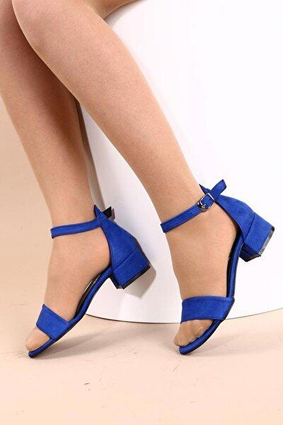 Saks Süet Kadın Topuklu Ayakkabı 352-05-1604